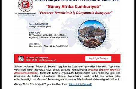 Ticaret Müşavirlerimizle Elektronik<br>Sohbetler- Güney Afrika Cumhuriyeti