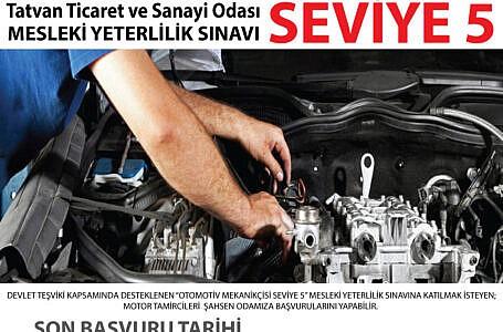 Otomotiv Mekanikçisi Seviye 5 Mesleki Yeterlilik Sınavı